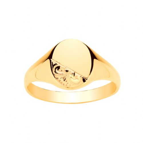 Yellow Gold Gents Heavyweight Part Patterned Oval Signet Ring